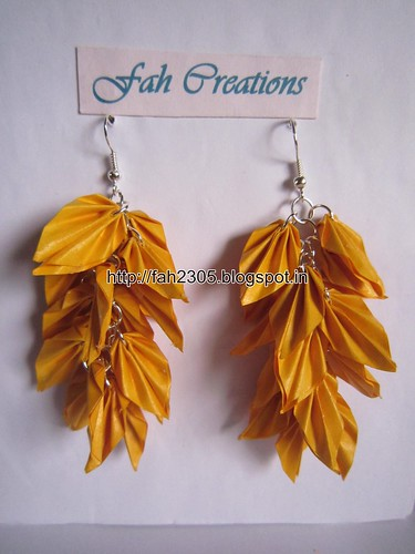 Handmade Jewelry - Origami Paper Leaves Earrings (6) by fah2305