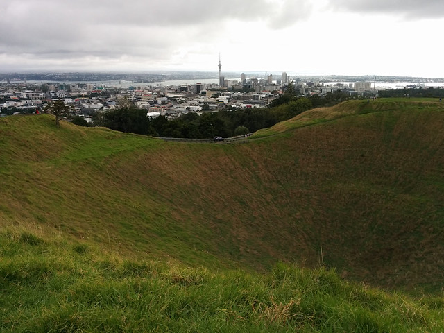 view of downtown from Mt Eden caldera