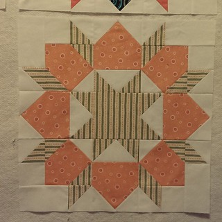 This block went very quickly from 🙌-yes it's done to 😠- one of the corner sections was sewed wrong when I put it up on design with the others. There may have been some swearing 😝. But block 7 is now done & I
