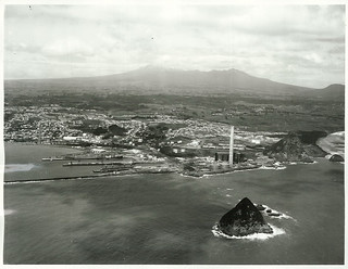 Aerial of New Plymouth power project and harbour area. Taranaki Province.