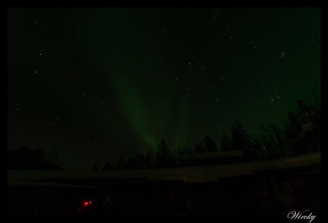 Laponia Tankavaara aurora boreal - Comienzo de la aurora boreal
