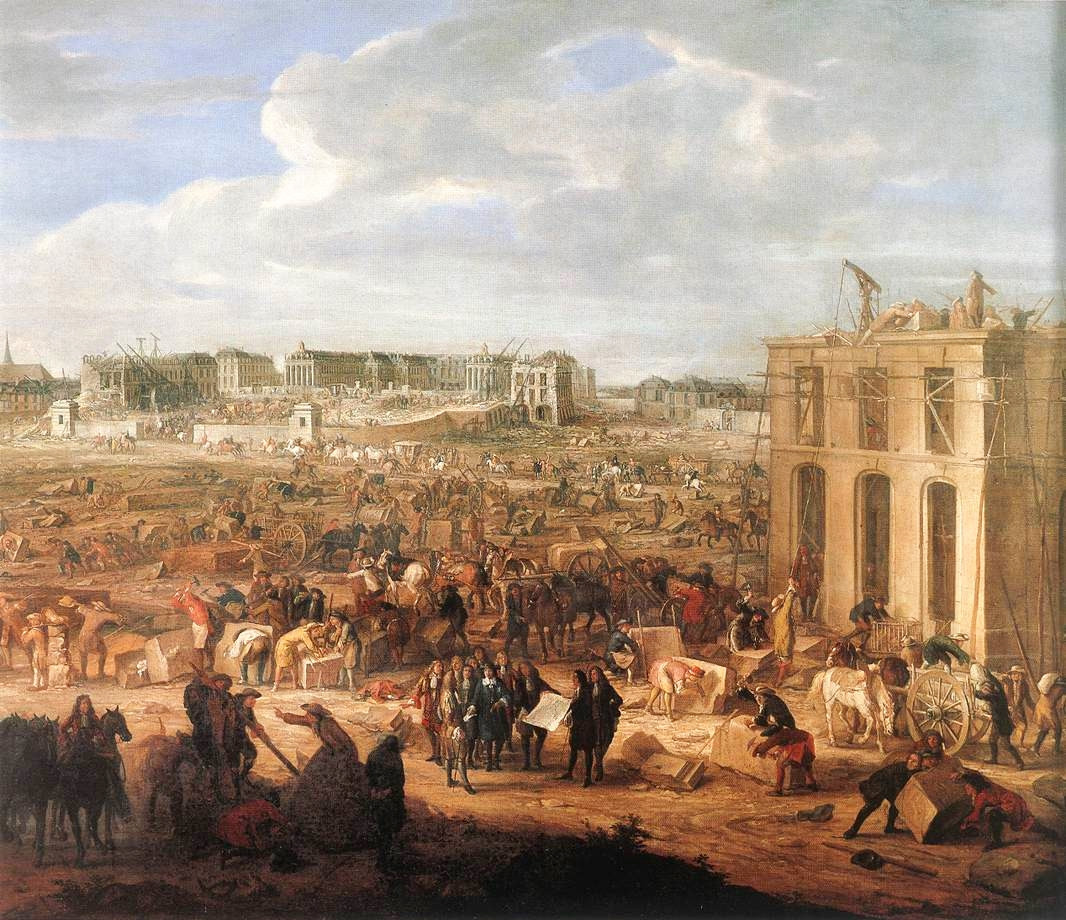 The construction of the Palace of Versailles by Adam Frans van der Meulen