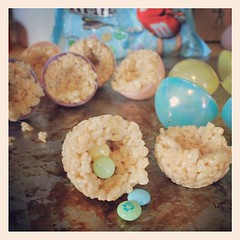 Making rice krispie egg shakers with hidden pastel M&Ms
