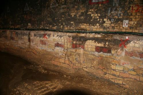 Cutting through the brick layers