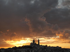Dramatic sunset on Montmartre