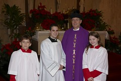 Monsignor Romero, Clint Trahan and altar servers - December 23, 2007