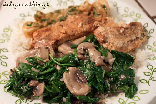 Sauteed garlic mushroom and spinach