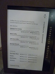 Starbucks Reserve menu