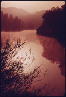 Sunrise on Malibu Lake in the Santa Monica Mountains near Malibu, California, which is located on the northwestern edge of Los Angeles County, May 1975