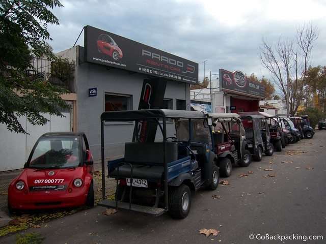 Golf cart rental shops can be found a few blocks from the bus and ferry terminals