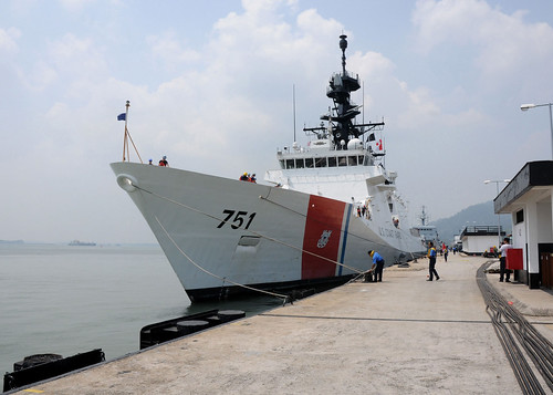 The U.S. Coast Guard Legend-class national security cutter USCGC Waesche moors at Lumut Naval Base.