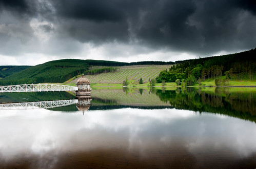 Valve Tower, Talla Reservoir, Scottish Borders on a Rainy Day