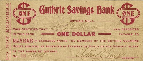 Guthrie Savings bank scrip
