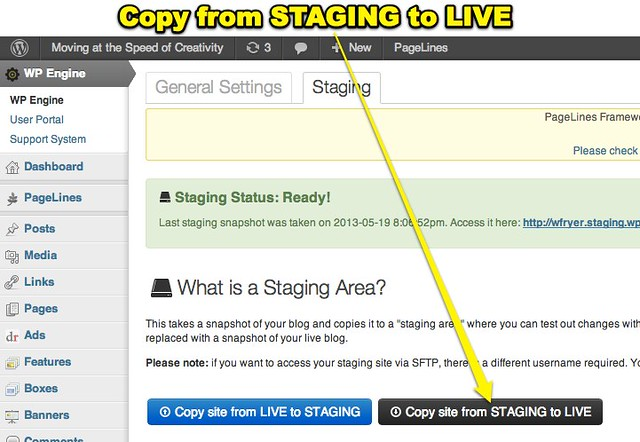 Copy from STAGING to LIVE