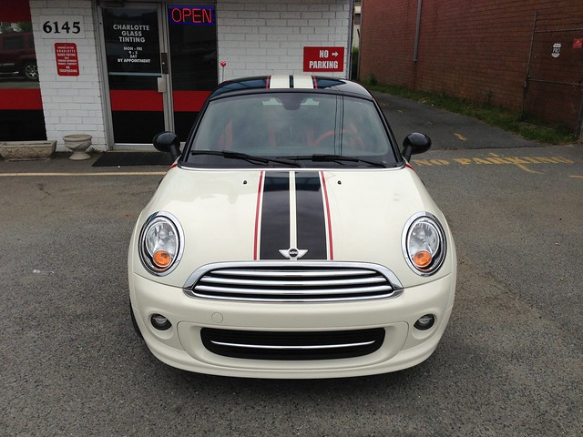 Mini Cooper Coupe - Sport Stripes - Black Gloss with Dual Red Pinstripes