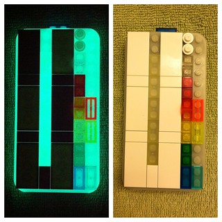 Glow in the dark Lego tiles, plates and IPhone Brickcase from Smallworks
