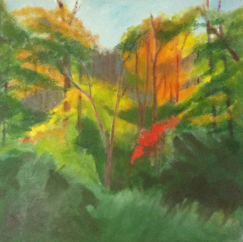Red Leaves in the Woods (Oil Bar Painting as of June 4, 2013) by randubnick