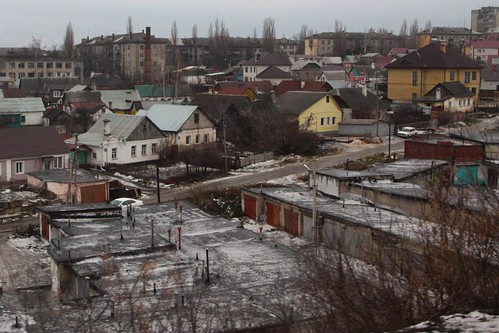 Mix of older houses and apartment blocks in the Russian city of Липецк (Lipetsk)