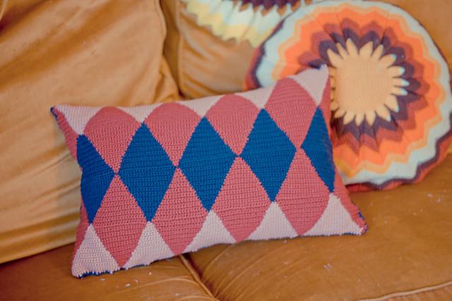 coussin losanges au crochet