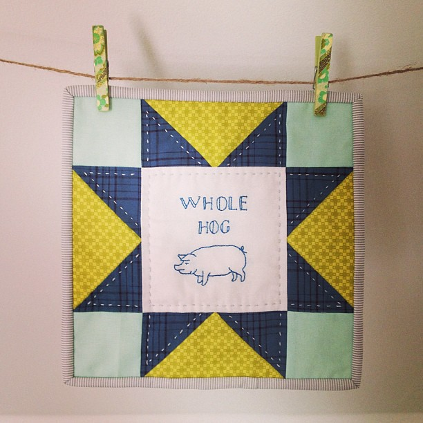 Whole Hog, the one block quilt. #miniquilt