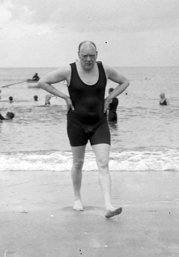Winston churchill out for a swim british politician - Churchill swimming pool timetable ...