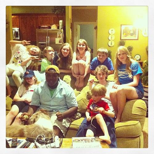 The crazy crew of kids. #visitingtheunsells #fiveinarow #homeschoolfriends