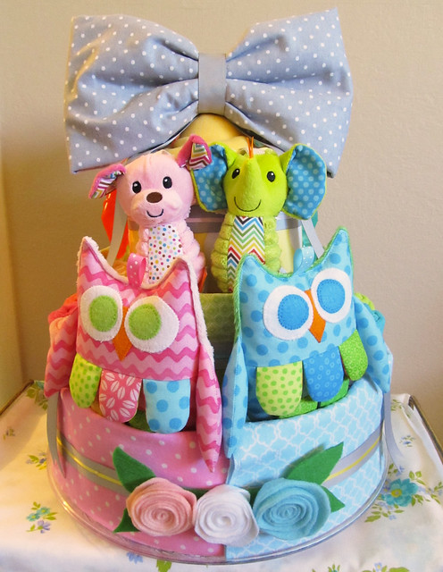 Diaper Cake for Boy/Girl Twins