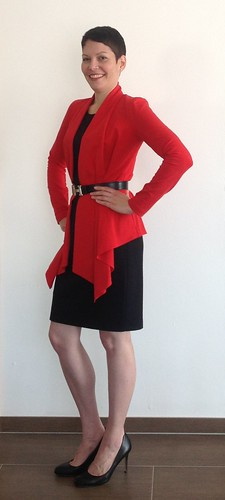 Red cardigan - side 1