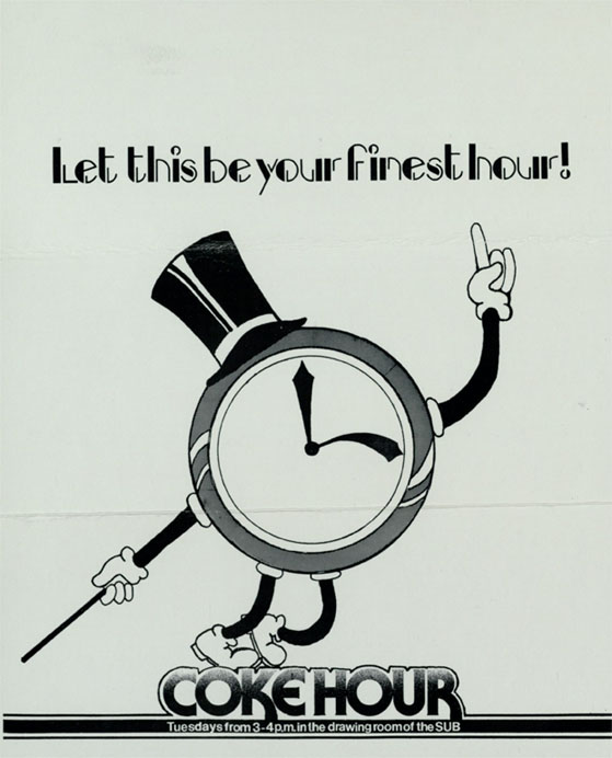 """Let this be your finest hour!"" Coke Hour flyer, Baylor University, undated"