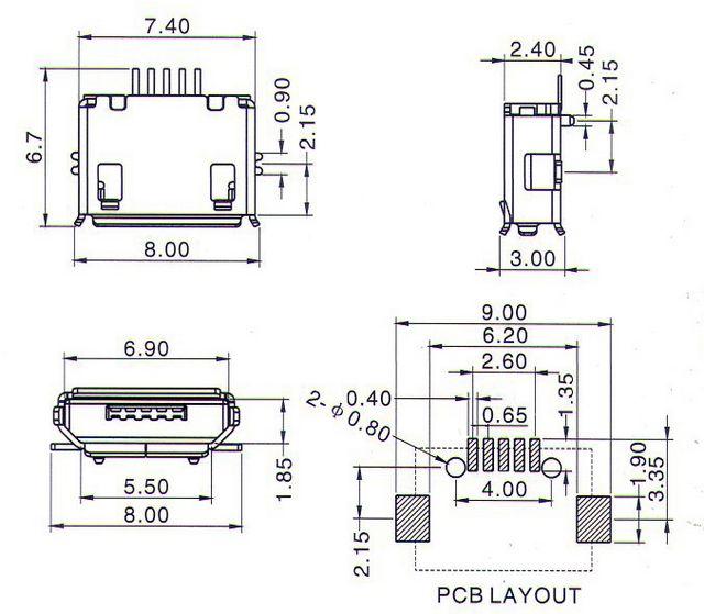 10pcs micro usb b type female 5 pin smt long pin socket