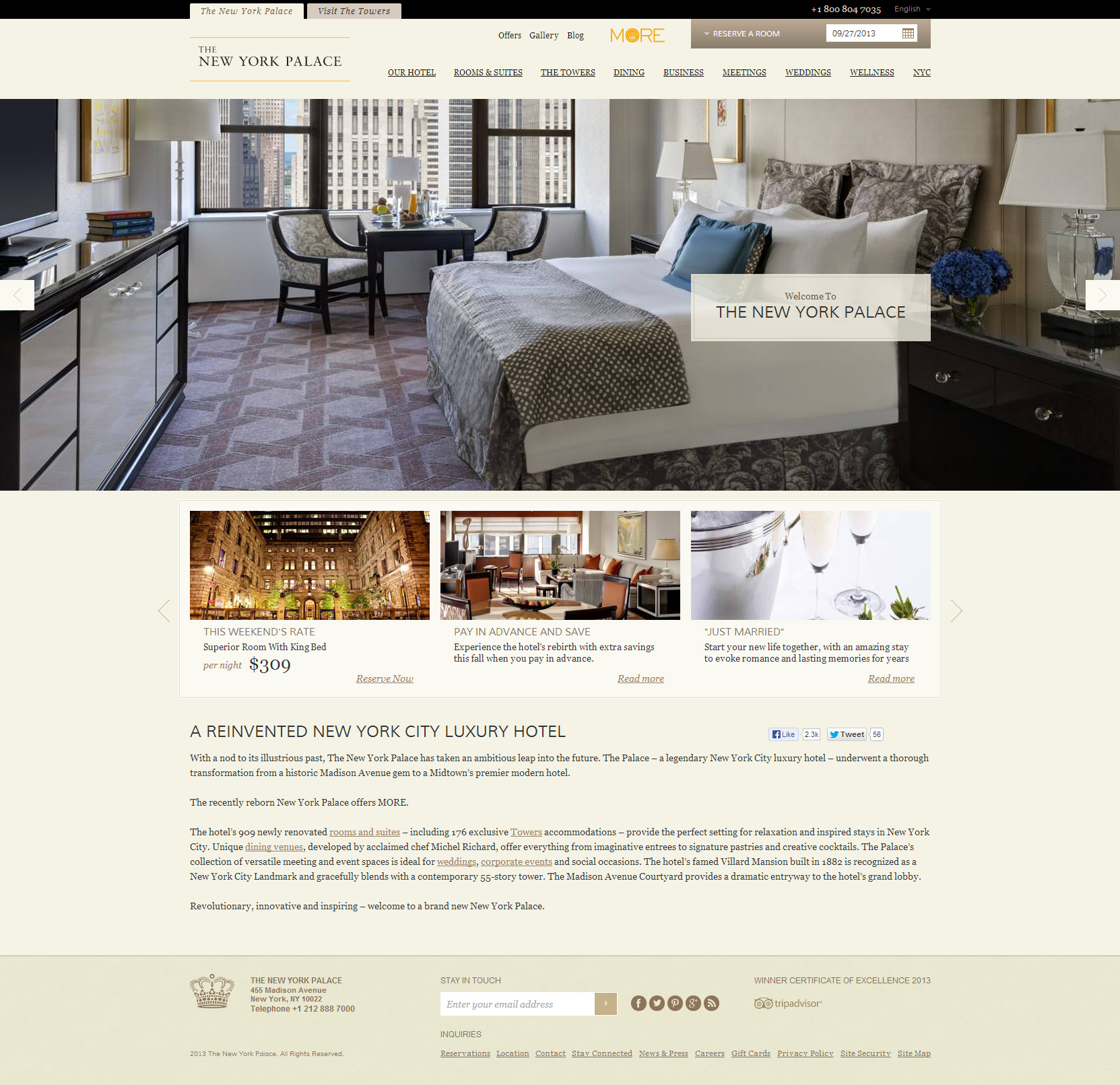 Website Inspiration - New York Palace Hotel