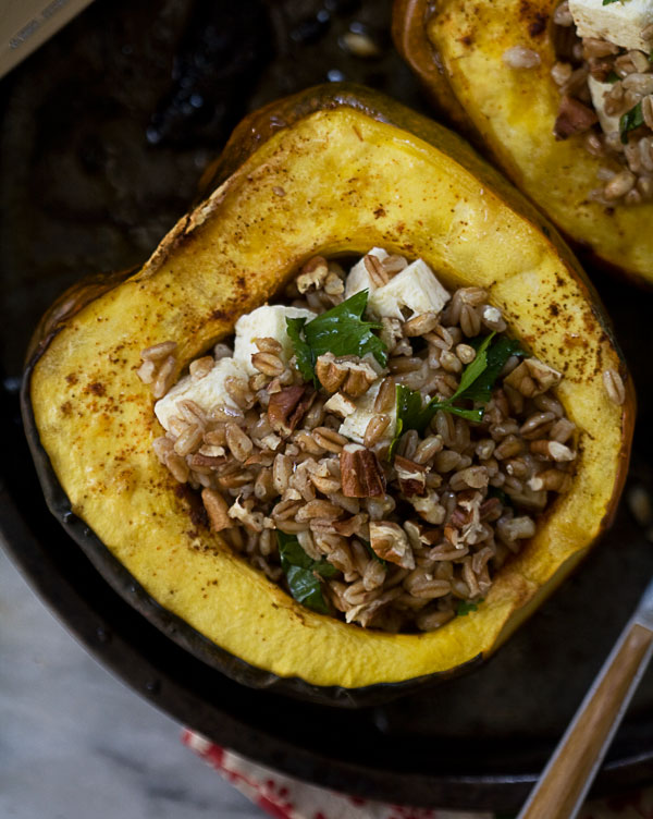 Acorn Squash Boats with Farro, Honey and Pecans