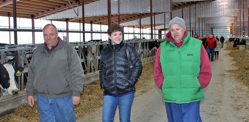 Agriculture Deputy Secretary Krysta Harden walks through the Wayside Dairy barn with U.S. Department of Agriculture (USDA) Natural Resources Conservation Service (NRCS) agent John Malviltz and owner Dan Natzke in Wisconsin on Tuesday, Apr. 15, 2014. USDA photo.