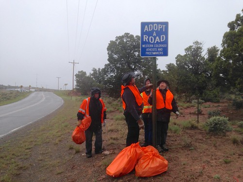 road orange cleanup roadsign atheists adoptaroad wcaf westerncoloradoatheistsfreethinkers