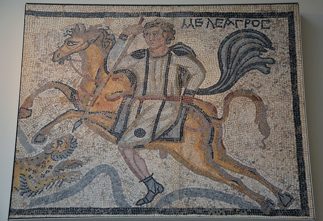 Part of a panel from a mosaic pavement: Meleager on horseback spears a leopard, 4th century AD, British Museum