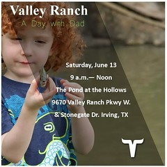 Learn how to bait, hook, and catch when you spend a day with Dad! The Denton and Grapevine Bass Clubs will be teaching basic fishing techniques and water safety on June 13! Don't miss this family fun filled event! #FathersDay #ADayWithDad #ValleyRanch #On