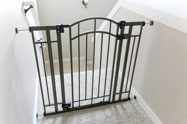 Summer Infant baby gate at top of stairs