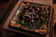 Beets, Blue Cheese, and Arugulla Salad