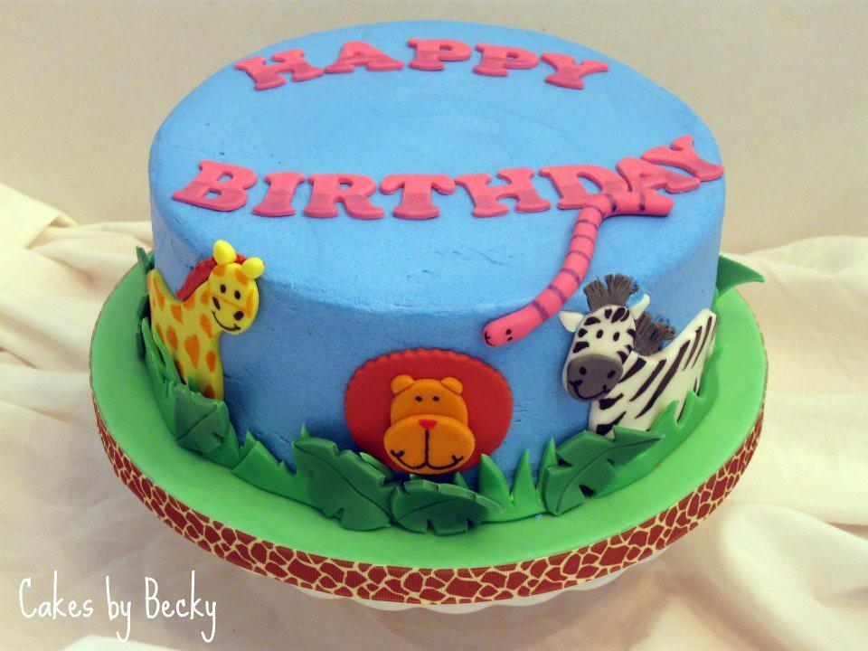 Incredible Jungle Animals Birthday Cake Vanilla Buttermilk Cake With Flickr Funny Birthday Cards Online Alyptdamsfinfo