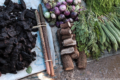 Eggplant, bitter gourd, rattan, venison jerky, and pepper wood (sepak)