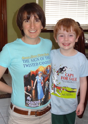 """Rebecca and Henry Modeling New """"Out of Print"""" T-Shirts"""
