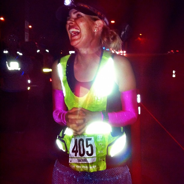 We just started Leg 15 @ #ragnarsocal. @according2kelly is all lit-up with her reflective gear and @runTeamSparkle skirt. #teamsparkle