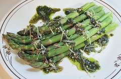 seaweed(0.0), plant(0.0), leaf vegetable(0.0), produce(0.0), caper(0.0), vegetable(1.0), asparagus(1.0), herb(1.0), food(1.0), dish(1.0), asparagus(1.0), cuisine(1.0),