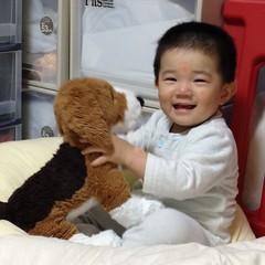 歯磨きでギャン泣き→犬でご機嫌とり (2012/6/12)