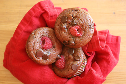 double chocolate raspberry muffins.