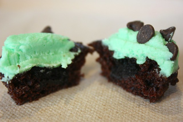 Miniature Mint Chocolate Chip Cupcake innards