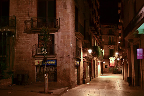 Barcelona street by night