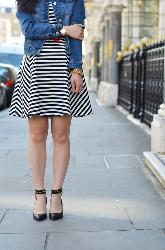 Express striped flare black & white dress
