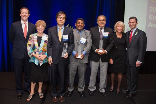 Massachusetts Secretary of Transportation Rich Davey, ILC Public Education Institute Director Marcia Hohn, award winners Dr. Chiang Li, Rafael Guzman and Mahmud Jafri, ILC President and CEO Diane Portnoy, and Massachusetts Treasurer Steve Grossman