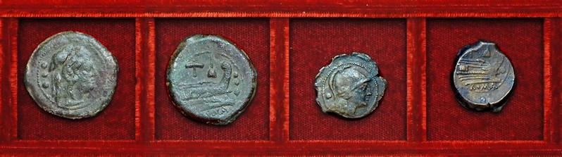 RRC 059 apex and hammer, quadrans, uncia, Ahala collection, coins of the Roman Republic